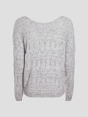 Pull au tricotage fantaisie gris femme