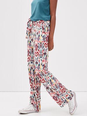 Pantalon large fluide multicolore femme