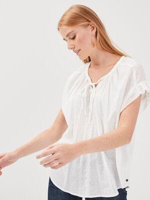 Blouse manches courtes ecru femme