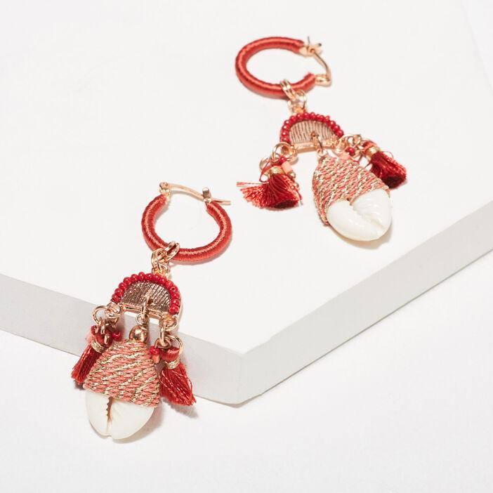 Boucles d'oreilles pendantes vieux rose femme