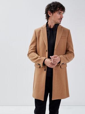 Manteau droit col montant vert kaki homme