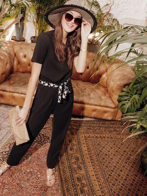 Combinaison pantalon ceinture noir femme