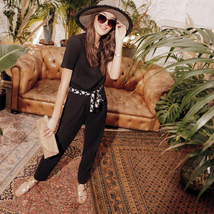 Combinaison pantalon ceinturé noir femme