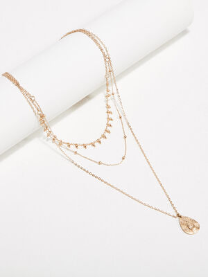 Collier multirangs couleur or femme
