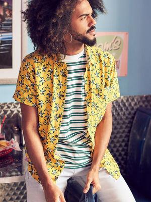 Chemise manches courtes jaune homme