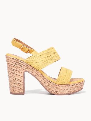 Sandales a talons jaune femme