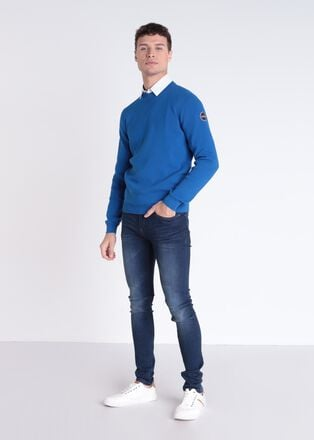 Pull manches longues bleu homme