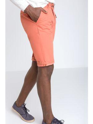 bermuda chino droit homme coton orange fonce