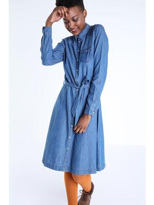 Robe chemise cintree en denim denim stone femme
