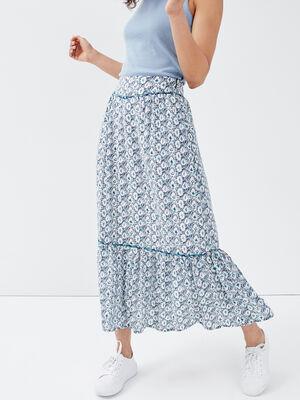 Jupe longue imprimee bleu blanc femme