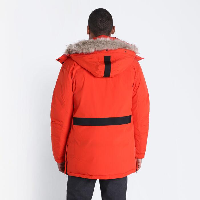 Parka droite à capuche orange homme