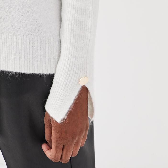 Pull manches longues à capuche ecru femme