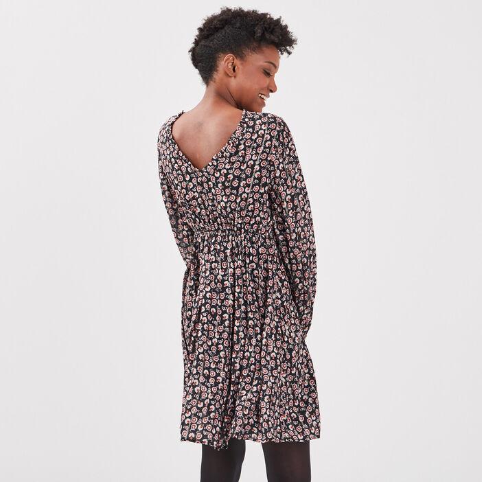 Robe évasée manches longues noir femme