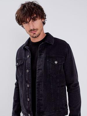 Veste droite en jean denim noir homme