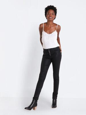 Jeans slim boutonne denim noir enduit femme
