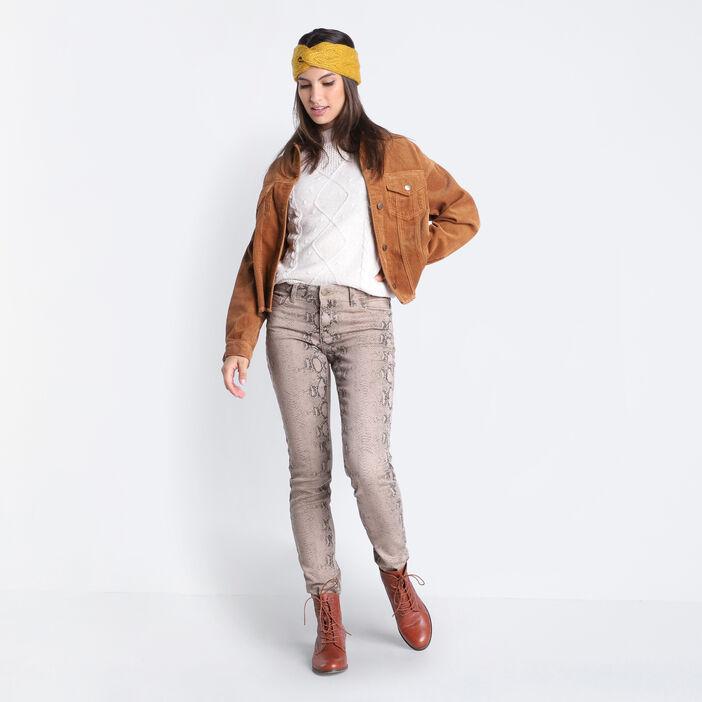 Pantalon slim 5 poches marron cognac femme