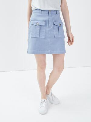 Jupe droite avec poches bleu gris femme