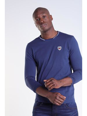 T shirt manches longues bleu homme