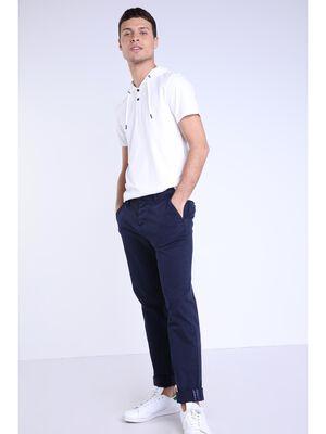 Pantalon straight Instinct chino ajuste bleu fonce homme