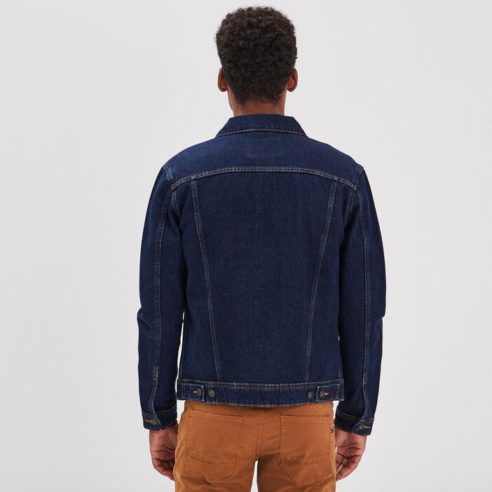Veste droite boutonnée en jean denim brut homme