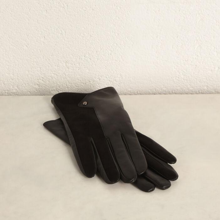 Paire gants en cuir noir femme