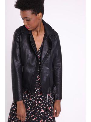Veste motard ajustee perles noir femme