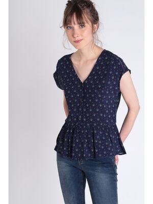 Blouse manches courtes bleu fonce femme