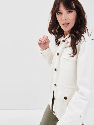 Veste droite boutonnee ecru femme
