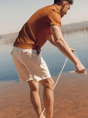 Bermuda droit en jean ecru homme
