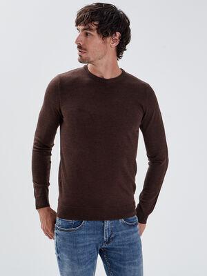 Pull 100 laine merinos marron fonce homme