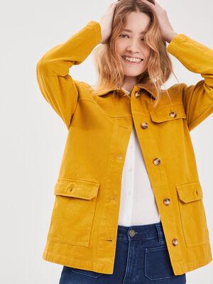 Veste droite poches boutonnees jaune femme