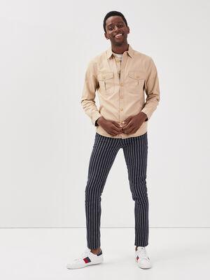Pantalon chino avec cordon bleu fonce homme
