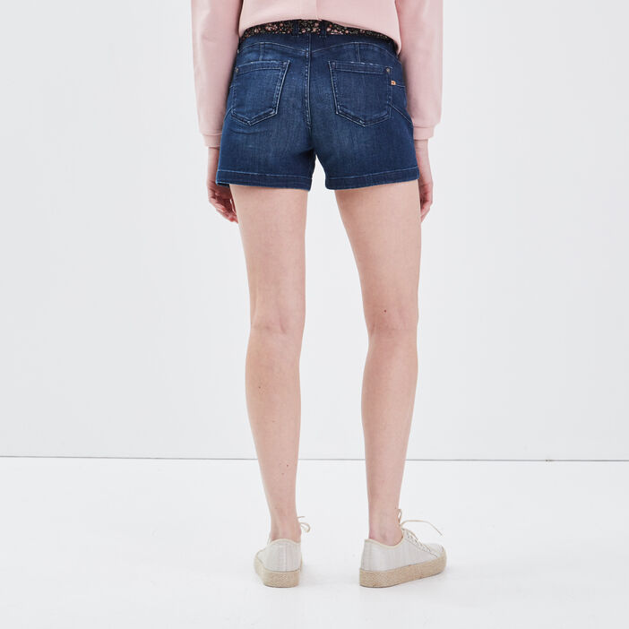 Short droit éco-responsable denim brut femme