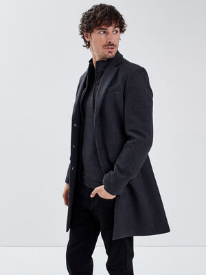 Manteau droit col montant gris fonce homme