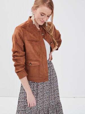 Veste teddy droite suedine marron femme