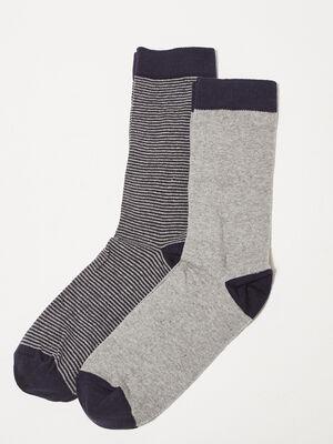 Lot 2 paires de chaussettes gris clair homme