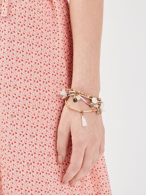 Bracelet multirangs en bois ecru femme