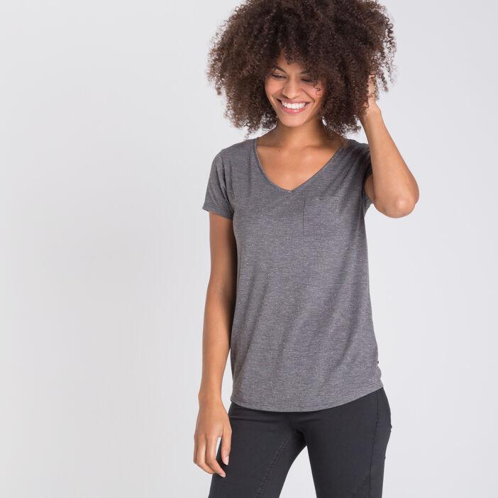 133c1d144 T-shirt maille fils métallisés gris foncé femme | Vib's