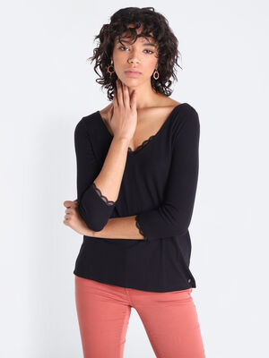 T shirt manches 34 boutonne noir femme