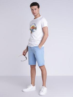 Bermuda chino a revers bleu lavande homme