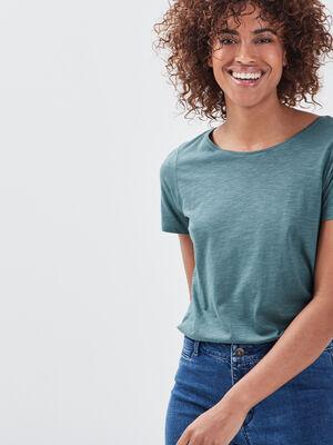 T shirt eco responsable vert fonce femme