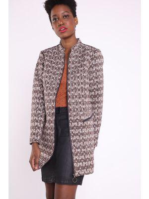 Manteau droit col mao marron femme