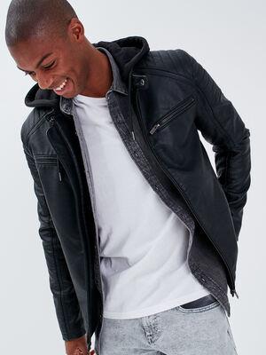 Veste droite avec capuche noir homme