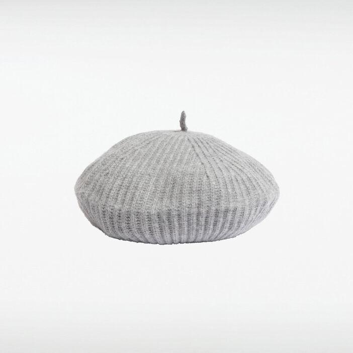 Béret tricoté gris femme