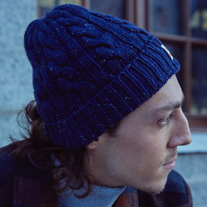 Bonnet tricoté à torsades bleu marine homme