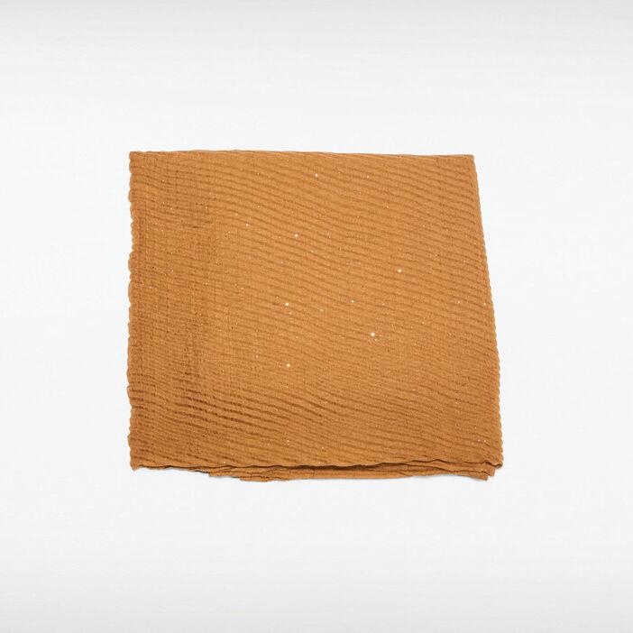 Foulard plissé marron femme