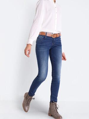 Jeans slim ceinture envers denim brut femme