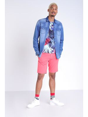 Short court a cordons rayes orange corail homme