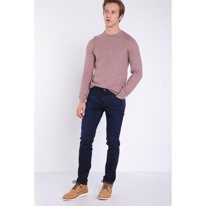 Pantalon slim urbain 5 poches denim blue black homme