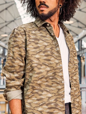 Chemise manches longues vert olive homme